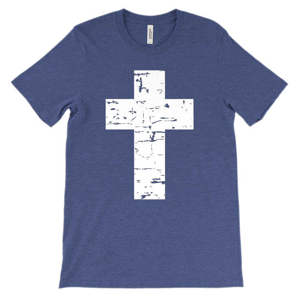 (Soft Unisex BC 3001) White Cross Graphic T-Shirt Tee BOXELS