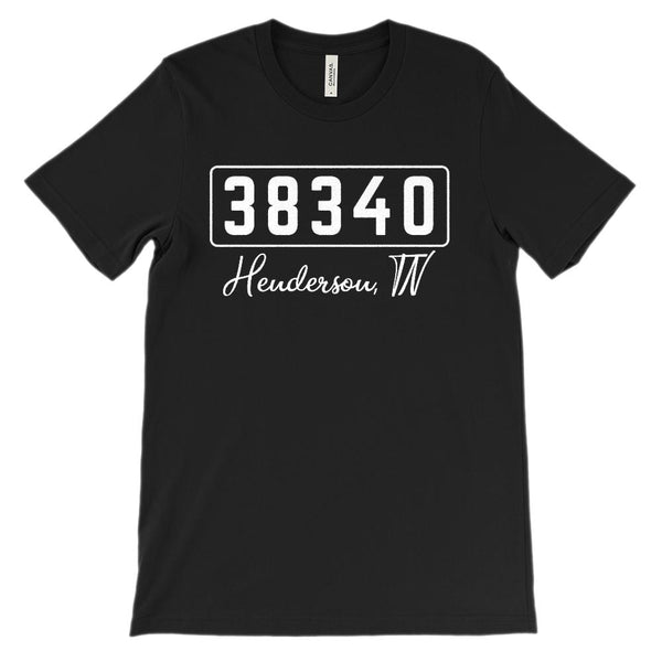 (Soft Unisex BC 3001) Zipcode City State 38340, Henderson, TN Graphic T-Shirt Tee BOXELS