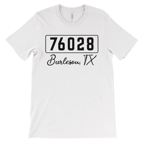 (Soft Unisex BC 3001) Zipcode City State Burleson, TX 76028 (black) Graphic T-Shirt Tee BOXELS