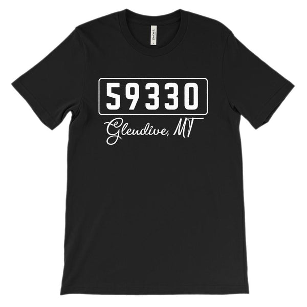 (Soft Unisex BC 3001) Zipcode City State Glendive, MT 59330 Graphic T-Shirt Tee BOXELS