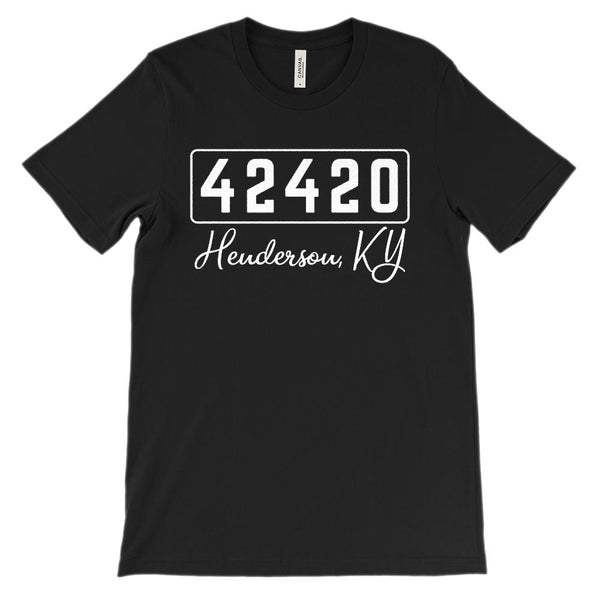 (Soft Unisex BC 3001) Zipcode City State Henderson, KY 42420 Graphic T-Shirt Tee BOXELS