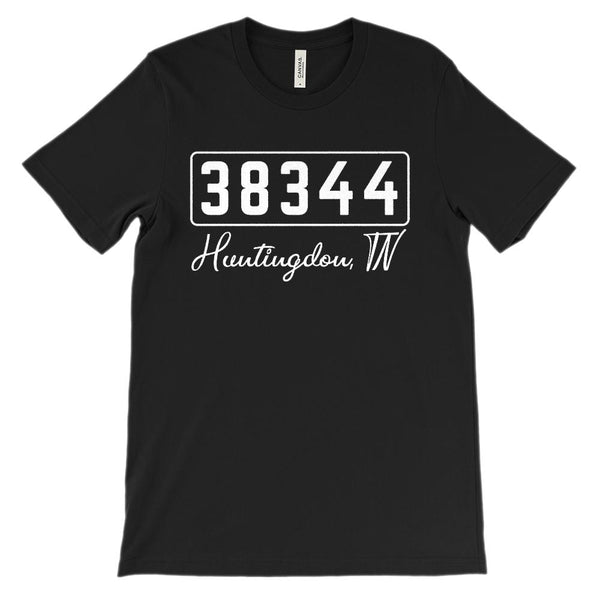 (Soft Unisex BC 3001) Zipcode City State Huntingdon, TN 38344 Graphic T-Shirt Tee BOXELS