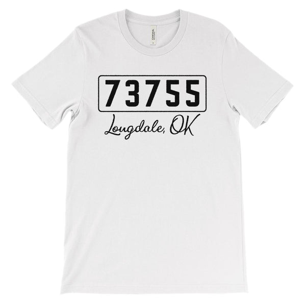 (Soft Unisex BC 3001) Zipcode City State Longdale, OK 73755 Graphic T-Shirt Tee BOXELS