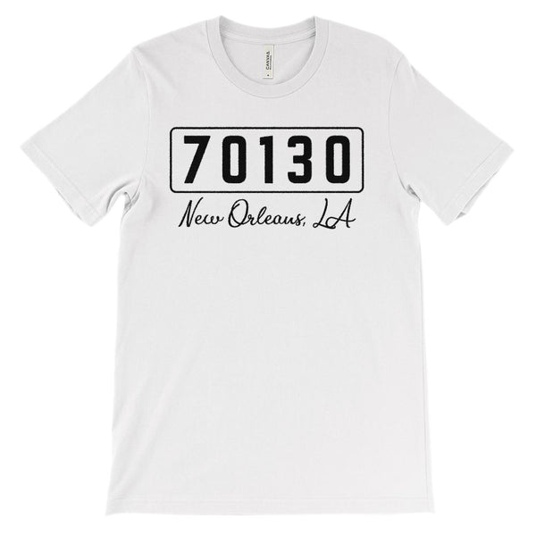 (Soft Unisex BC 3001) Zipcode City State New Orleans, LA 70130 Graphic T-Shirt Tee BOXELS