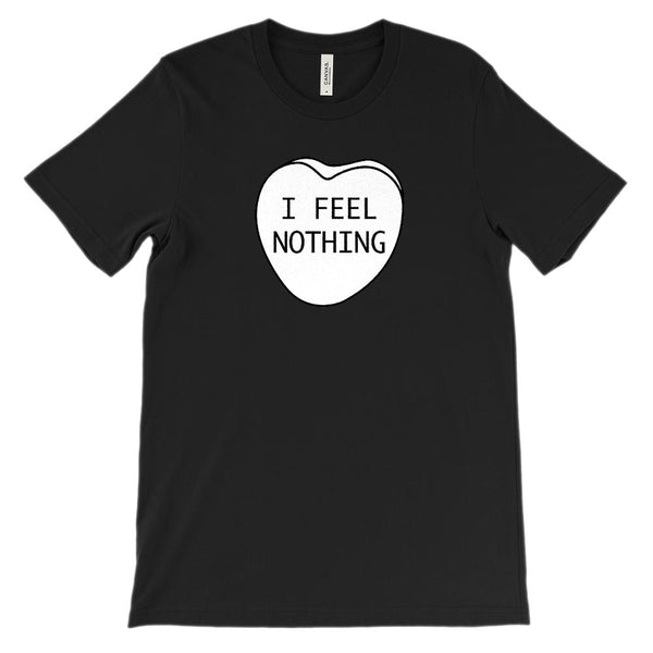 (Soft Unisex Bella Canvas Darks) I Feel Nothing Candy Heart Graphic T-Shirt Tee BOXELS