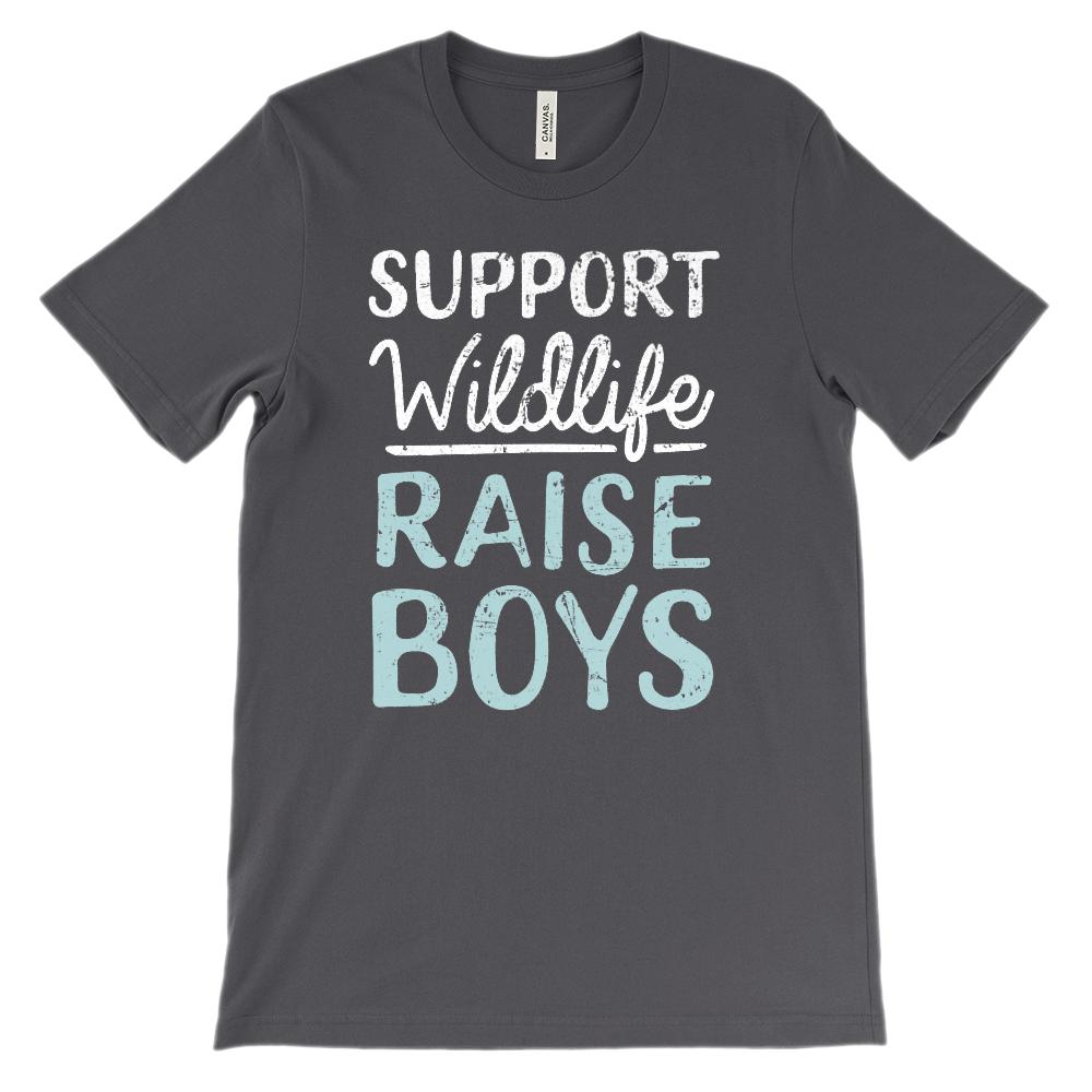 (Soft Unisex Bella Canvas Darks) Support Wildlife Raise Boys Graphic T-Shirt Tee BOXELS