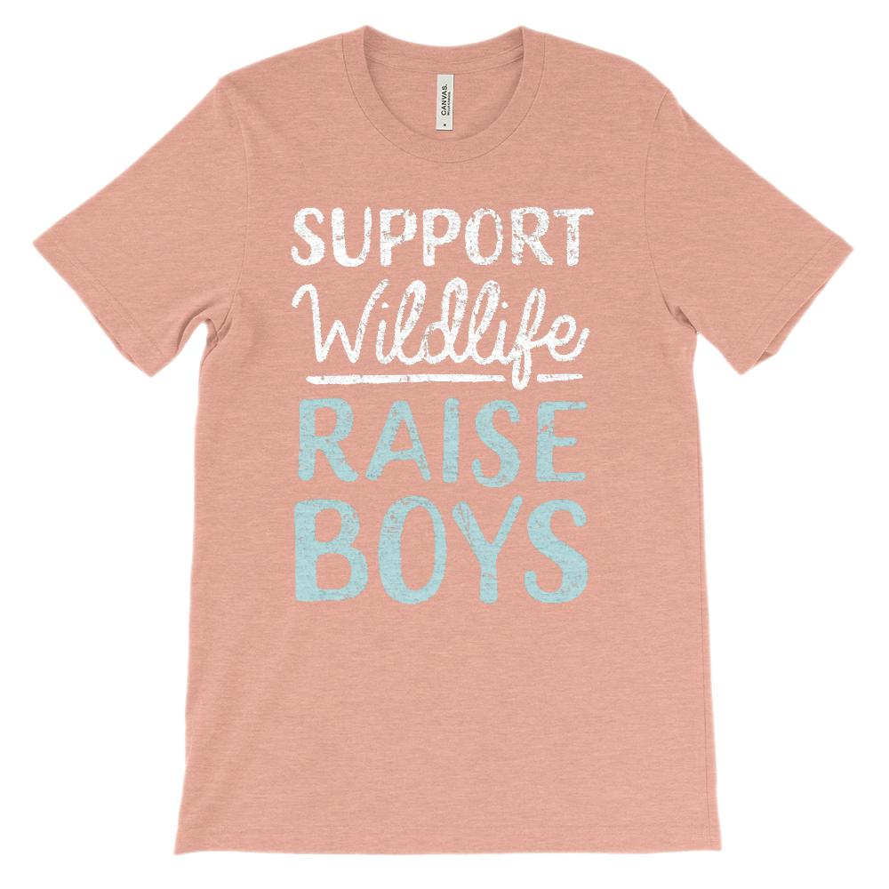 (Soft Unisex Bella Canvas Darks) Support Wildlife Raise Boys (Light Font) Graphic T-Shirt Tee BOXELS