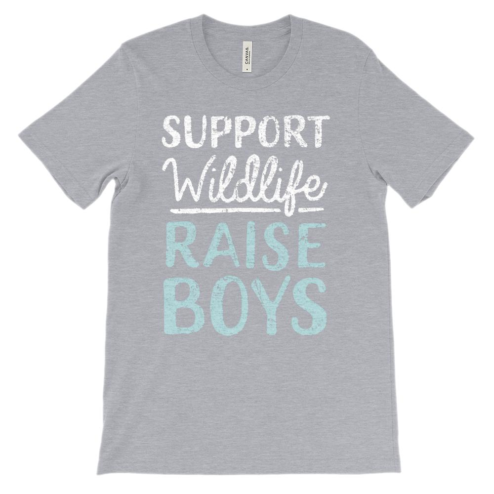 (Soft Unisex Bella Canvas Darks) Support Wildlife Raise Boys (Light Font)