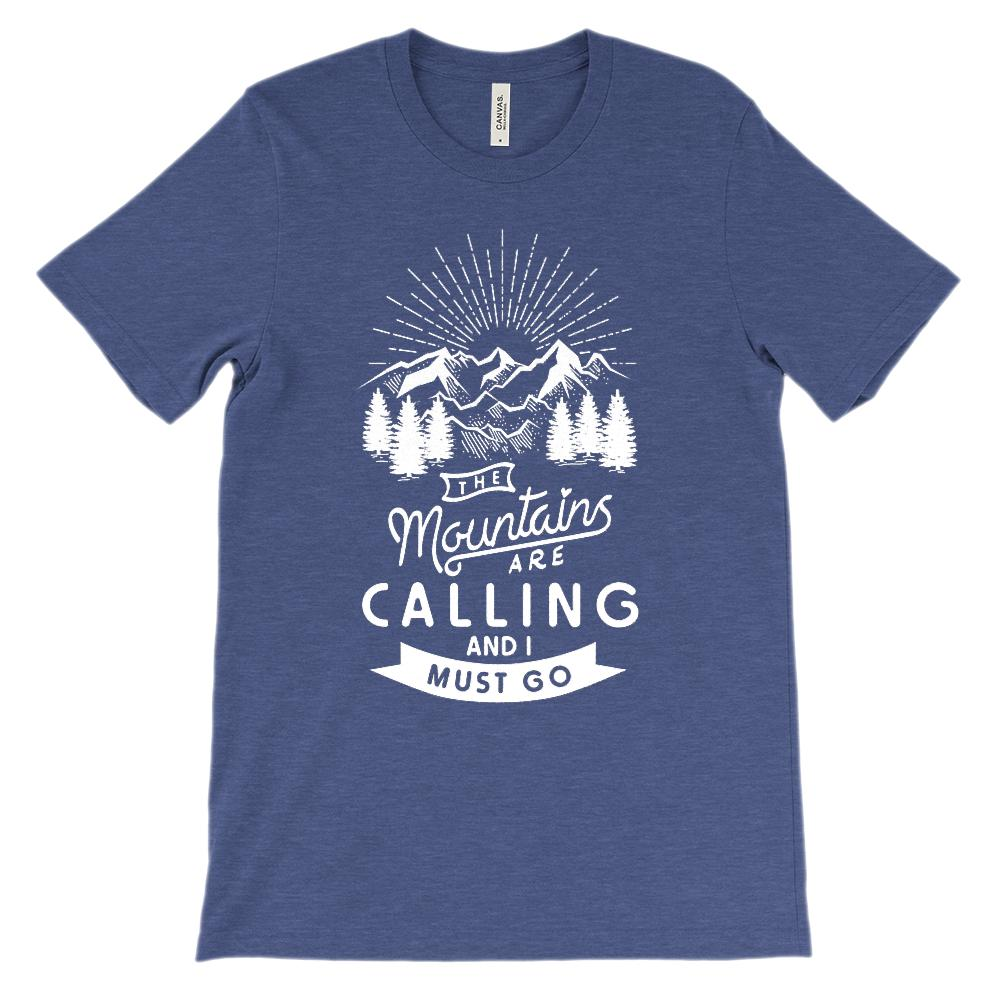 (Soft Unisex Bella Canvas - Darks) The Mountains Are Calling I Must Go (White) Graphic T-Shirt Tee BOXELS