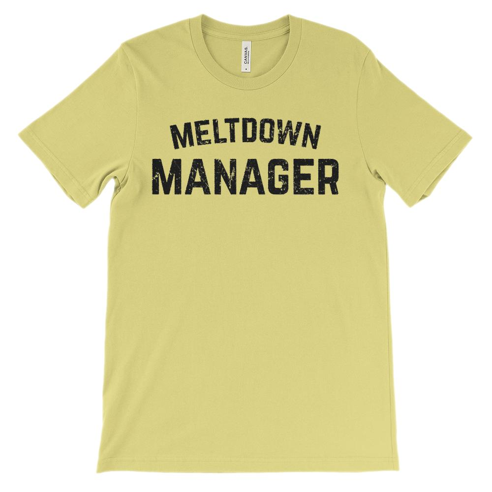 (Soft Unisex Bella Canvas Lights) Meltdown Manager (black) Graphic T-Shirt Tee BOXELS