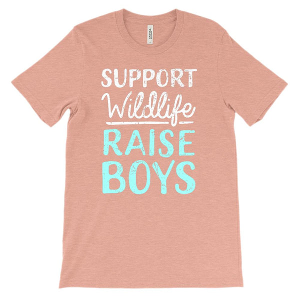 (Soft Unisex Bella Canvas Lights) Support Wildlife Raise Boys Graphic T-Shirt Tee BOXELS