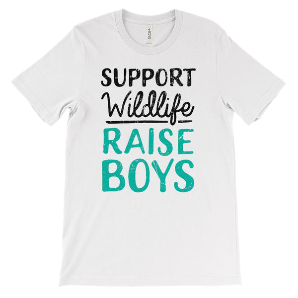 (Soft Unisex Bella Canvas Lights) Support Wildlife Raise Boys (Dark Font) Graphic T-Shirt Tee BOXELS