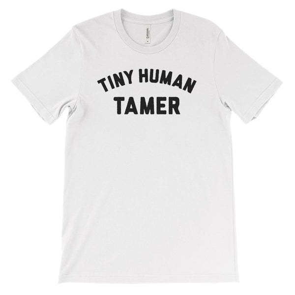 (Soft Unisex Bella Canvas Lights) Tiny Human Tamer (charcoal font) Graphic T-Shirt Tee BOXELS
