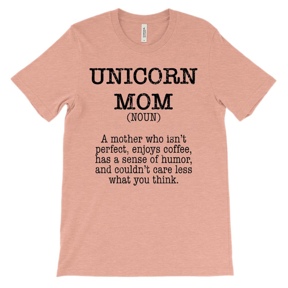 (Soft Unisex Bella Canvas Lights) Unicorn Mom Noun (black) Graphic T-Shirt Tee BOXELS