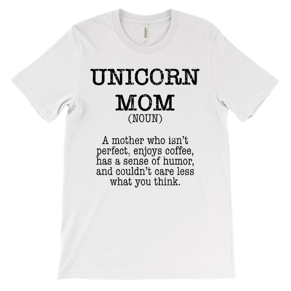 (Soft Unisex Bella Canvas Lights) Unicorn Mom Noun (black)