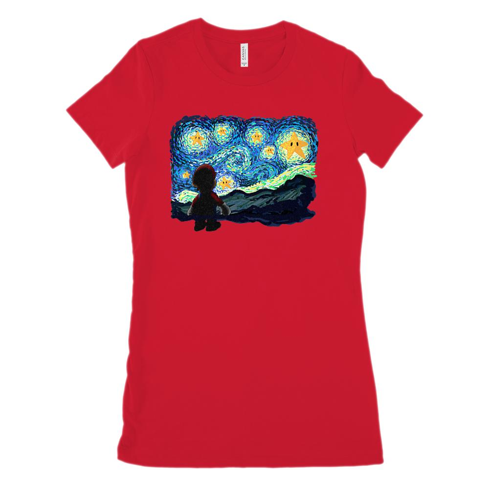 Starry Night Gamer Parody Vincent van Gogh (Women's BC 6004 Soft Tee) Graphic T-Shirt Tee BOXELS