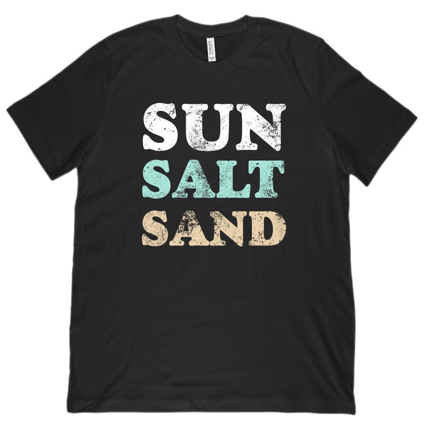 Sun Salt Sand Outdoors Beach Summer Vacation (Unisex BC 3001 Soft Tee) Graphic T-Shirt Tee BOXELS