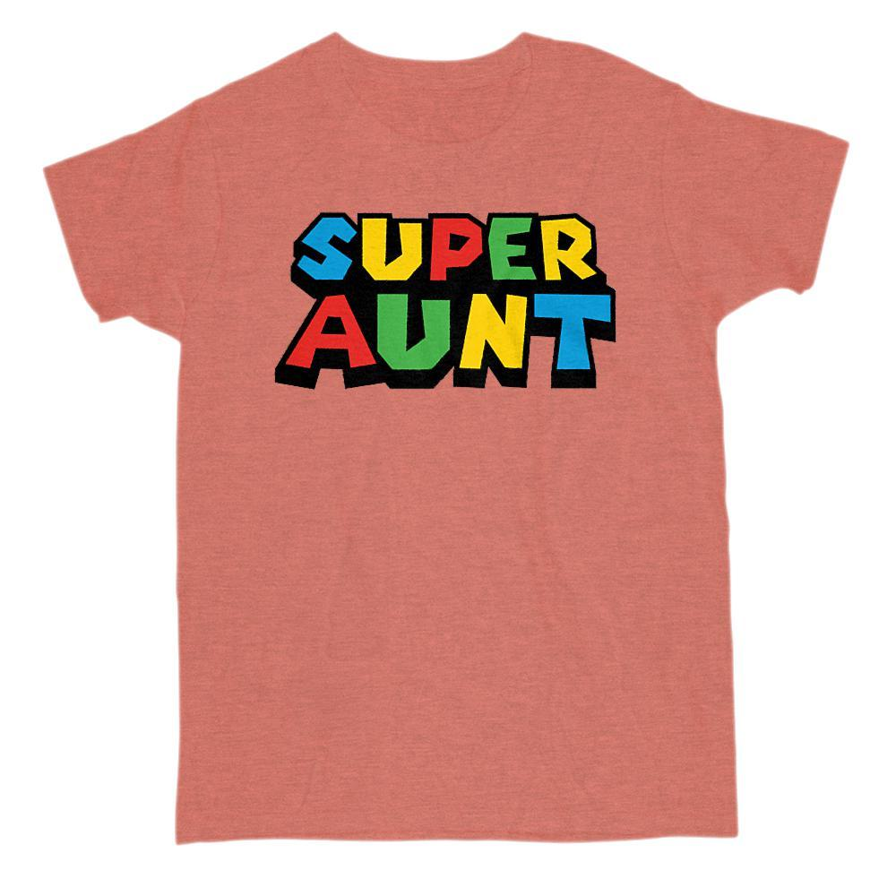 Super Aunt (Auntie) Video Game Gamer Parody T-Shirt Graphic T-Shirt Tee BOXELS