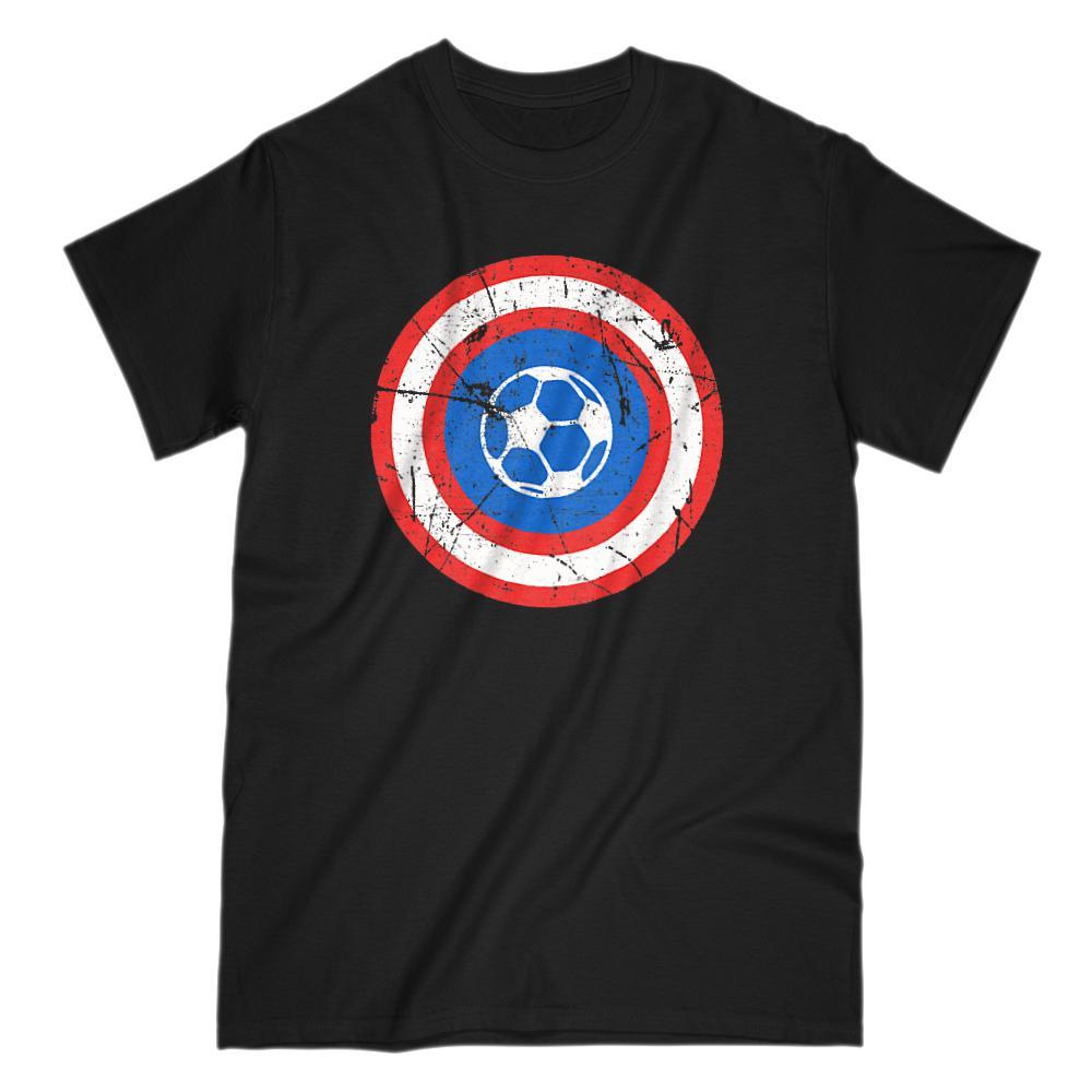 Super Hero Soccer Ball Retro Grunge Shield Graphic Tee