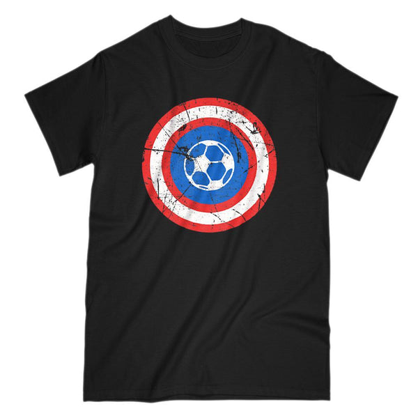 Super Hero Soccer Ball Retro Grunge Shield Graphic Tee Graphic T-Shirt Tee BOXELS