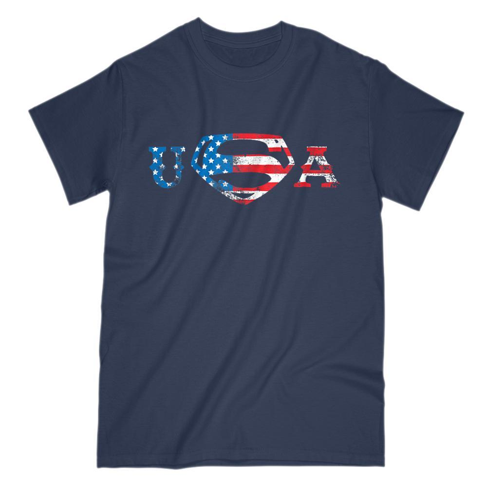Super USA Man Graphic Hero (red white blue) flag Patriotic America T-shirt Graphic T-Shirt Tee BOXELS