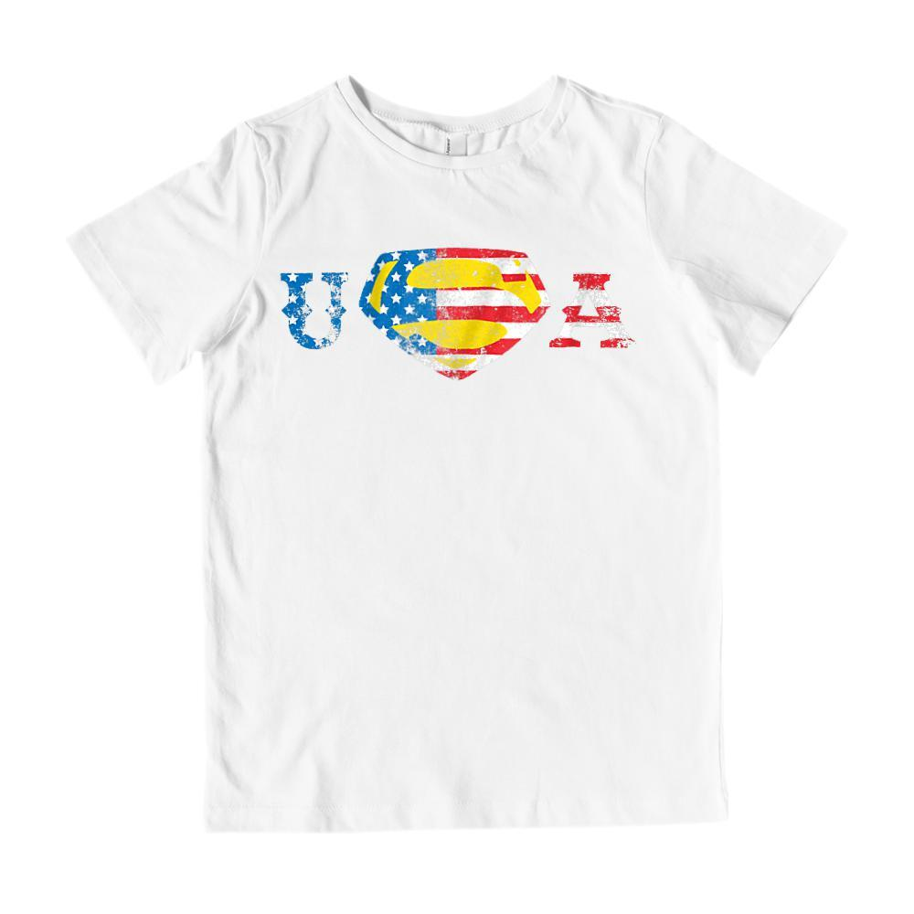 Super USA Man Hero (red white blue yellow) flag Patriotic America T-shirt Graphic T-Shirt Tee BOXELS