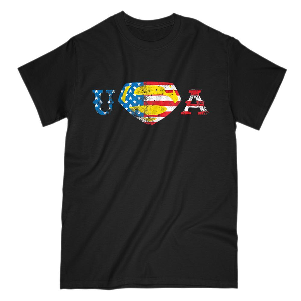 Super USA Man Hero (red white blue yellow) flag Patriotic America T-shirt