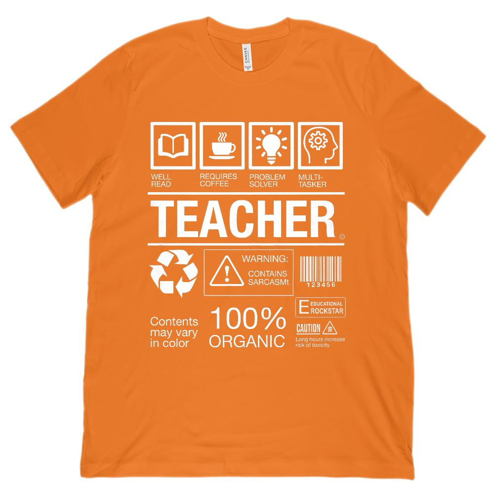 TEACHER Box Label Funny (Unisex BC 3001 Soft Tee) Graphic T-Shirt Tee BOXELS