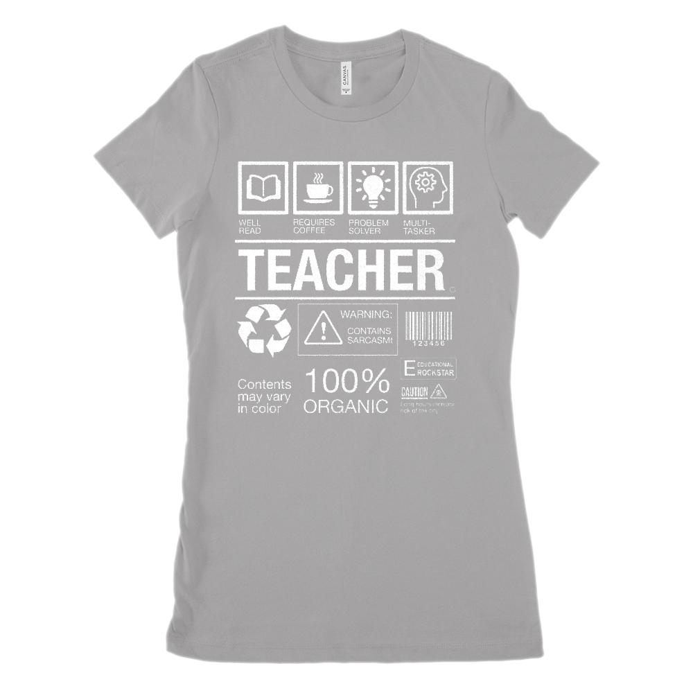 f314c89cc TEACHER Box Label Funny (Women's BC 6004 Soft Tee) Graphic T-Shirt Tee