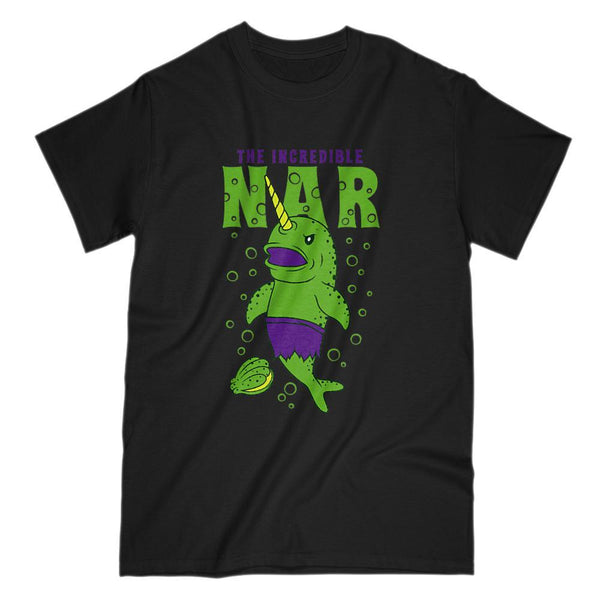 The Incredible Green Narwhal Nar Funny Graphic Parody Tee Graphic T-Shirt Tee BOXELS