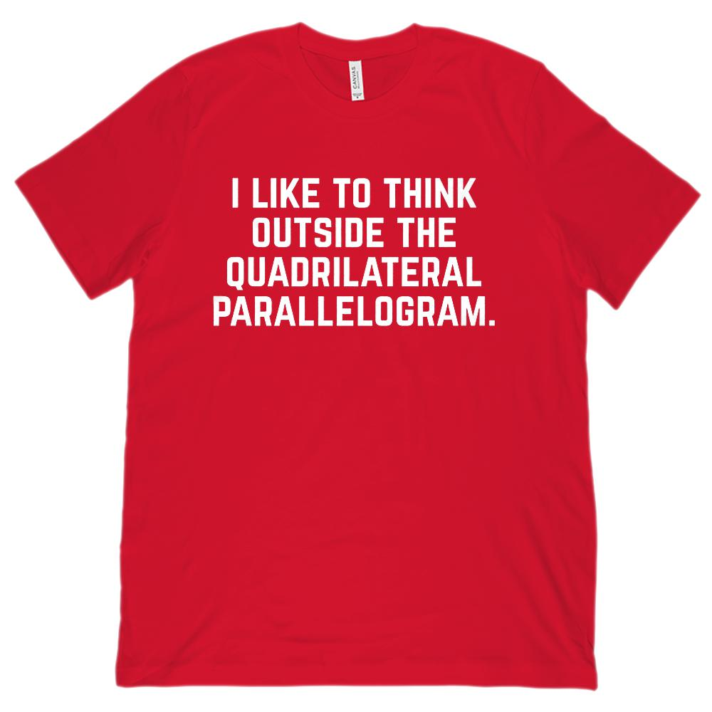 Think Outside the Quadrilateral Parallelogram Teacher (Unisex BC 3001 Soft Tee) Graphic T-Shirt Tee BOXELS