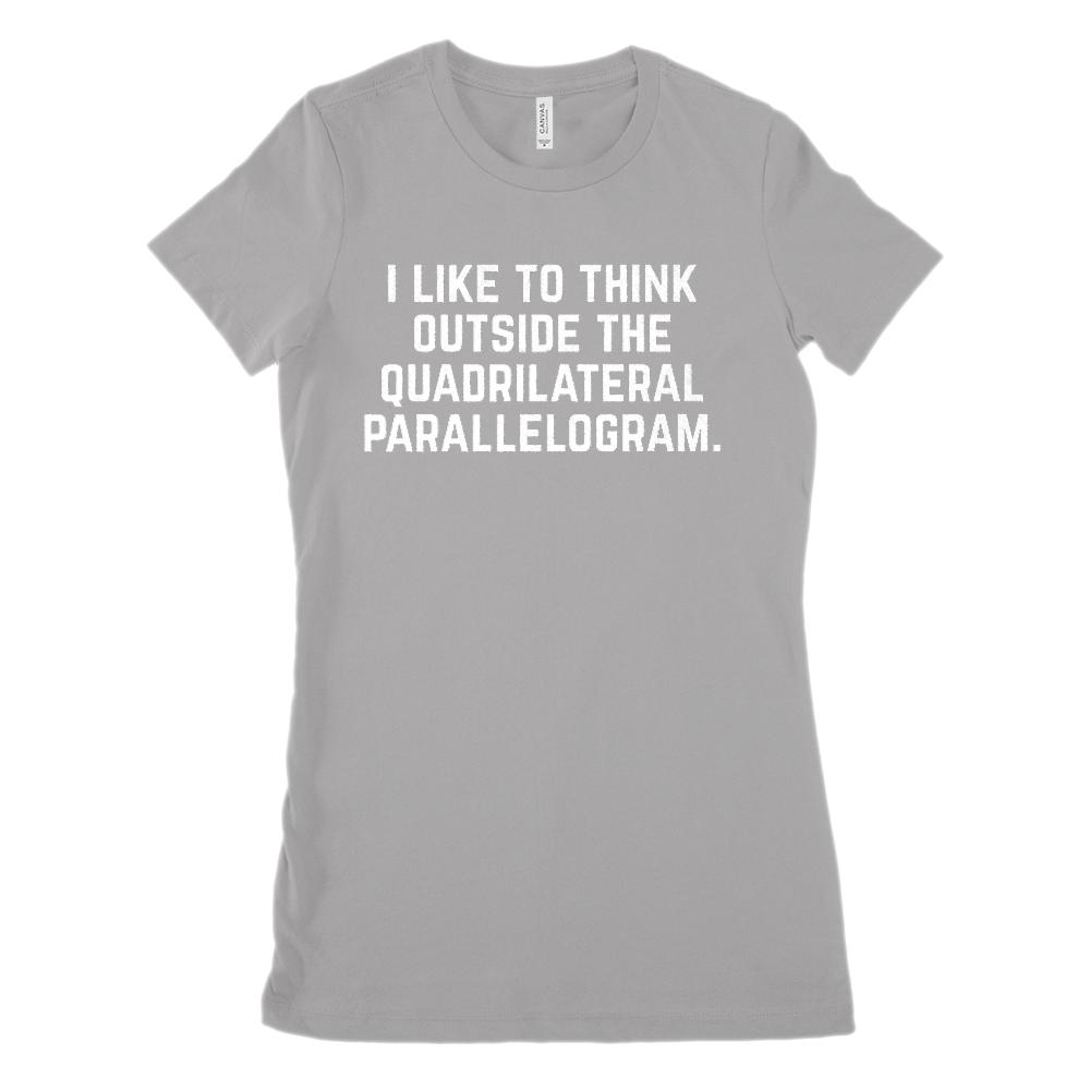 Think Outside the Quadrilateral Parallelogram (Women's BC 6004 Soft Tee) Graphic T-Shirt Tee BOXELS