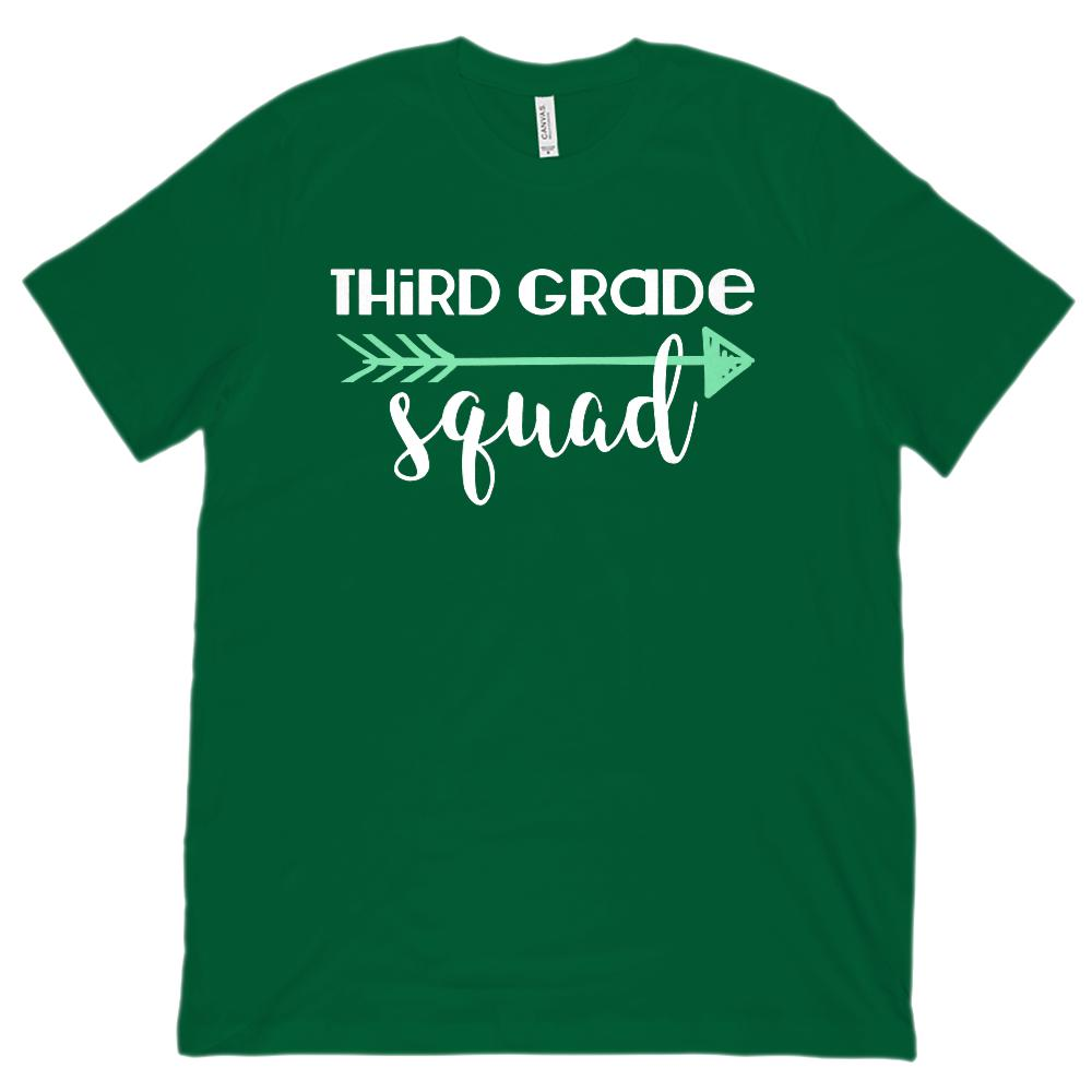 Third Grade Squad Teacher Mint Arrow (Unisex BC 3001 Soft Tee) Graphic T-Shirt Tee BOXELS