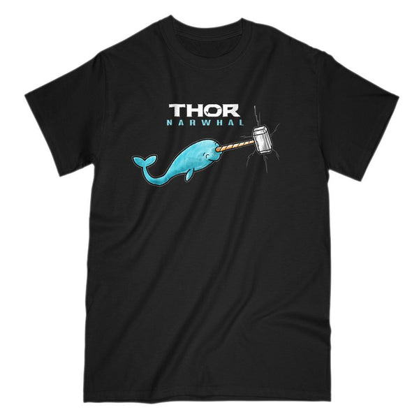Thor Narwhal Funny Graphic Movie Parody T-shirt Graphic T-Shirt Tee BOXELS