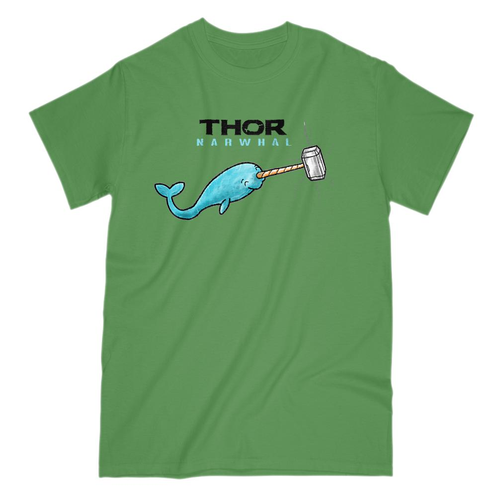 Thor Narwhal (mens) Hammer Parody Graphic T-Shirt Tee BOXELS