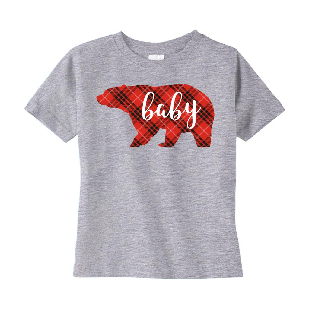 (Toddler Rabbit Skins) Matching Christmas Plaid Bear Tees (Baby) Red Graphic T-Shirt Tee BOXELS