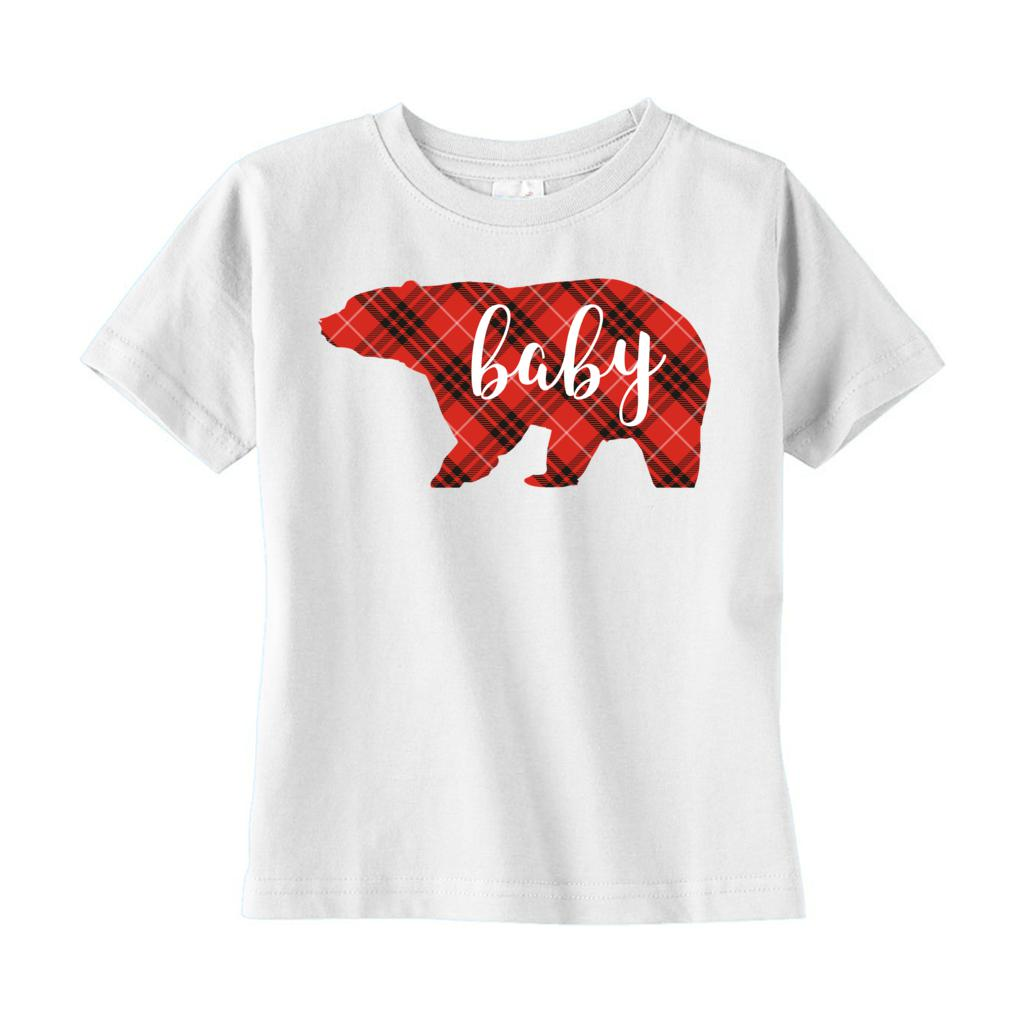 (Toddler Rabbit Skins) Matching Christmas Plaid Bear Tees (Baby) Red