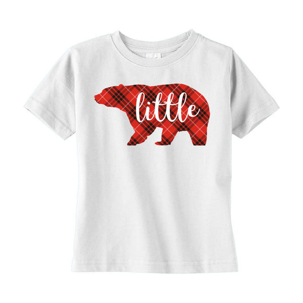 (Toddler Rabbit Skins) Matching Christmas Plaid Bear Tees (Little) Red Graphic T-Shirt Tee BOXELS