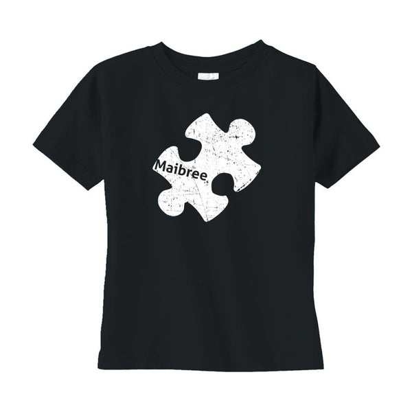 (Toddler Rabbit Skins Tee 3321) Custom Autism Awareness Puzzle Piece (Maibree) Graphic T-Shirt Tee BOXELS
