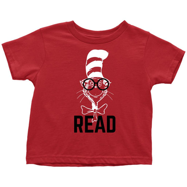 (Toddler Tee) Cat Hat Read Glasses Graphic T-Shirt Tee BOXELS