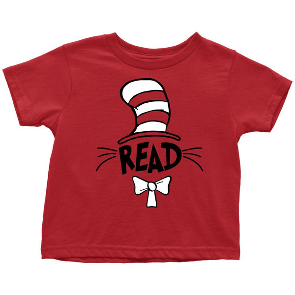 (Toddler Tee) Read Hat Whiskers Books Graphic T-Shirt Tee BOXELS