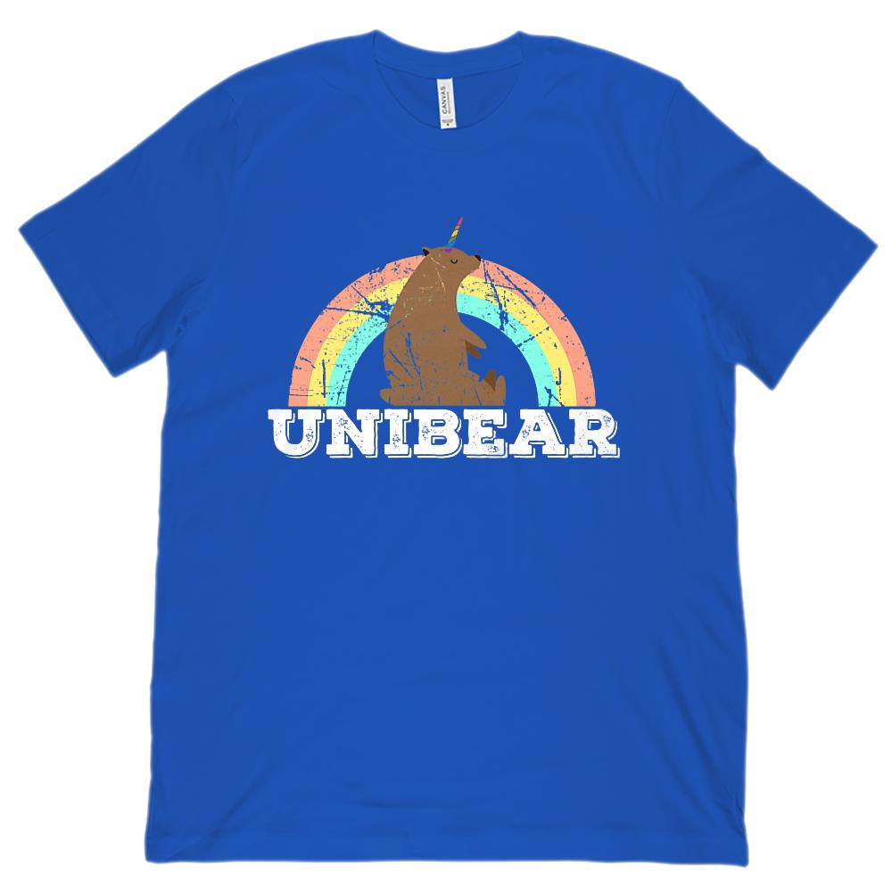 Unibear (Bear Unicorn) Rainbow Unisex Bella Canvas 3001 Soft Tee Graphic T-Shirt Tee BOXELS
