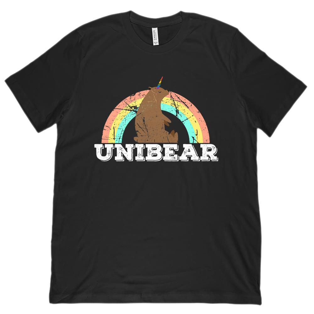 Unibear (Bear Unicorn) Rainbow Unisex Bella Canvas 3001 Soft Tee