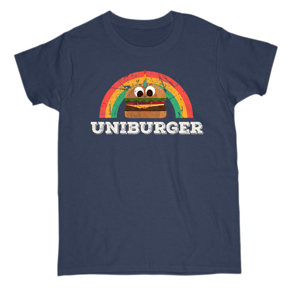 Uniburger (Gildan Women's Cotton Tee) Unicorn Burger, Retro Rainbow Grunge Graphic T-Shirt Tee BOXELS