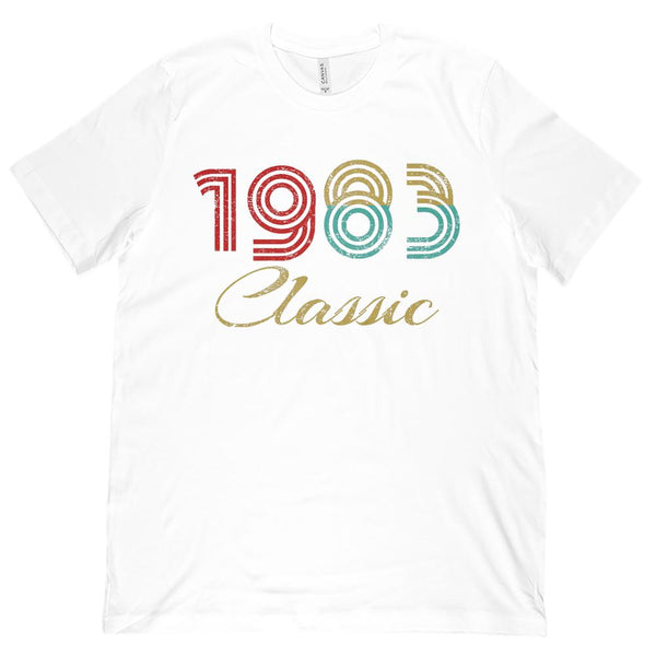 (Unisex BC 3001 Soft Tee) 1 Year Classic 1983 - On Light Tees Graphic T-Shirt Tee BOXELS