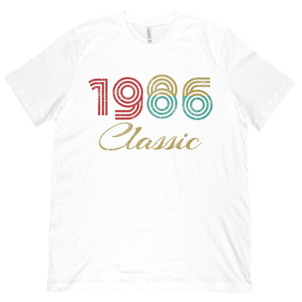 (Unisex BC 3001 Soft Tee) 1 Year Classic 1986 - On Light Tees Graphic T-Shirt Tee BOXELS