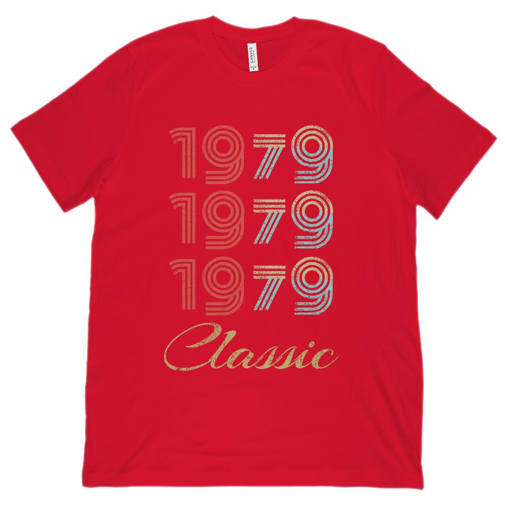 (Unisex BC 3001 Soft Tee) 3 Year Classic 1979 - Made in the Year (darker font) Graphic T-Shirt Tee BOXELS