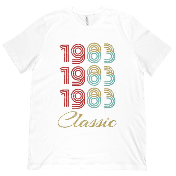 (Unisex BC 3001 Soft Tee) 3 Year Classic 1983 - Made in the Year on White, Pink Graphic T-Shirt Tee BOXELS