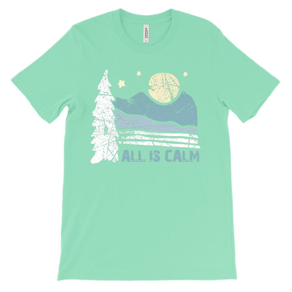 (Unisex BC 3001 Soft Tee) All Is Calm Scenic Mountain Night Moon Graphic T-Shirt Tee BOXELS