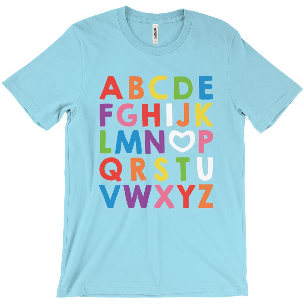 (Unisex BC 3001 Soft Tee) Alphabet I Love (heart letter O) You Teacher (other Colors)